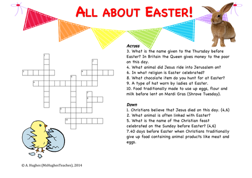 All About Easter Crossword Puzzle