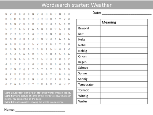 german weather keywords ks3 gcse starter activities wordsearch anagrams crossword cover. Black Bedroom Furniture Sets. Home Design Ideas