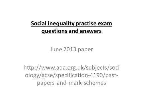 AQA Sociology GCSE OLD SPEC Unit 2 Social inequality