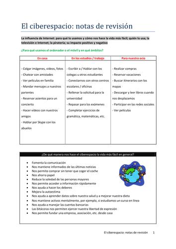 El ciberespacio: notas de revisión (AQA new A Level Spanish)