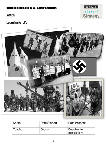 EXTREMISM and RADICALISATION Pupil workbook 24 pages