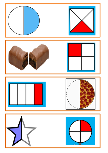 Y1 Fraction Dominoes - whole, half and quarter