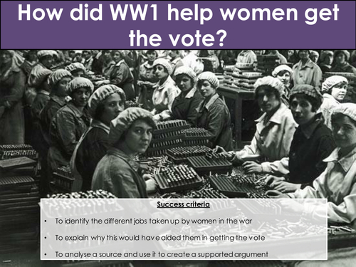 How did WW1 help women get the vote?