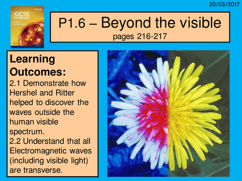 """A digital version of the Year 9 Physics P1.6 lesson """"Beyond the visible""""."""
