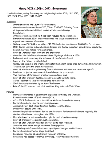 A-Level revision resource: Henry VIII