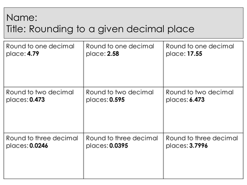 Lesson and Powerpoint: Rounding to a given decimal place (differentiated and mastery questions)