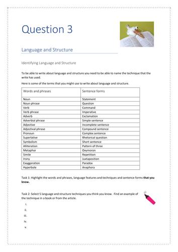EDEXCEL English Language Paper 1 Question 3