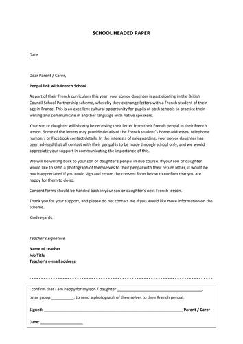 Letter home to Parents / Carers - French Penpal Scheme