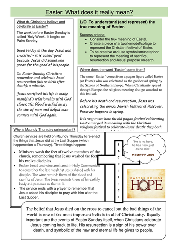 What is the true meaning of Easter? Craft project worksheet by ...