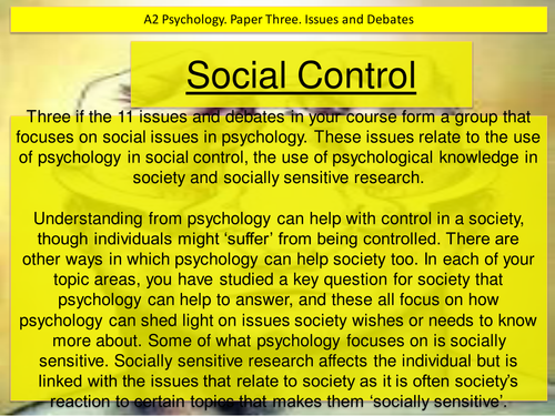 Social control. issues and debates in psychology. edexcel paper three