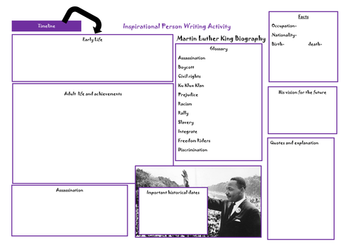Martin Luther King Planning sheet for birography by JasmineKay-Moyle ...