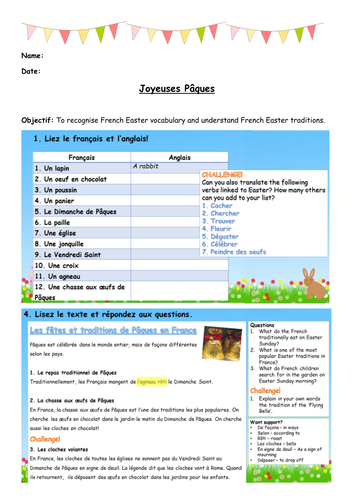 French Easter Lesson - Vocabulary, Games and Traditions - KS3 + KS4
