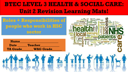 BTEC LEVEL 3 HEALTH AND SOCIAL CARE: UNIT 2 REVISION LEARNING MATS!