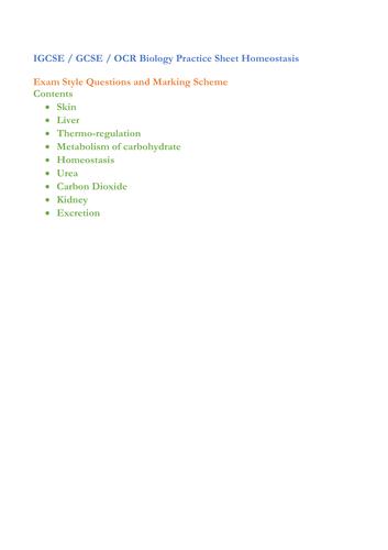 IGCSE / GCSE / OCR Biology Practice Sheet Homeostasis