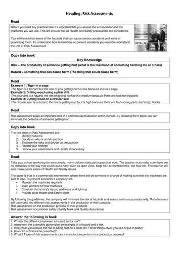 Risk Assessments: WJEC/BTEC Engineering Cover lesson or revision activity