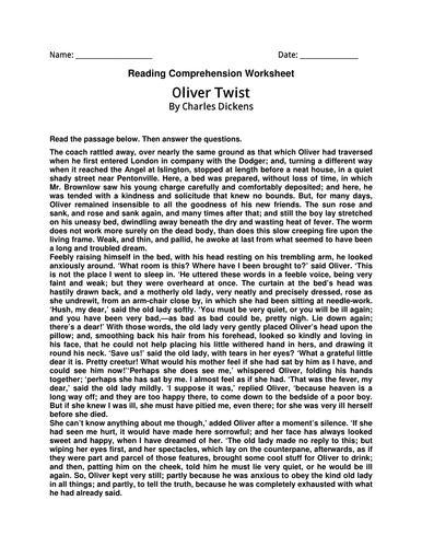 English Comprehension Worksheet-Oliver Twist By Charles Dickens