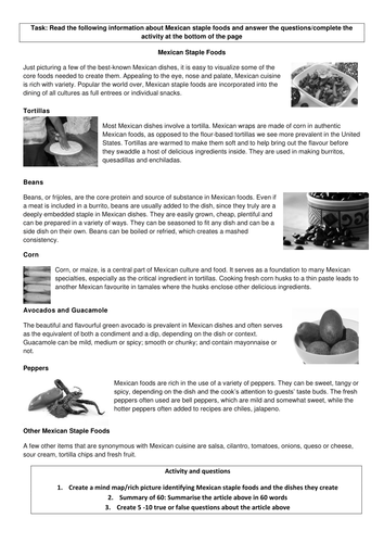 Food Technology Cover lesson activity: Mexican Staple foods
