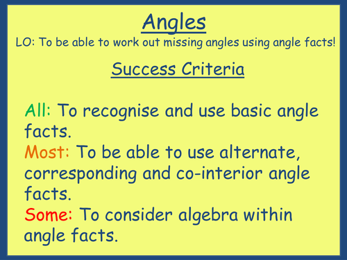 Angle Facts & Parallel Lines Lesson