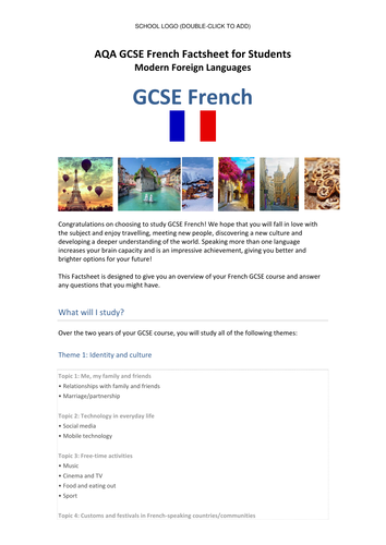 AQA New French GCSE (Specification 8658) - Student Factsheet