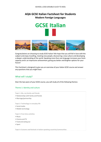 AQA New Italian GCSE (Specification 8633) - Student Factsheet