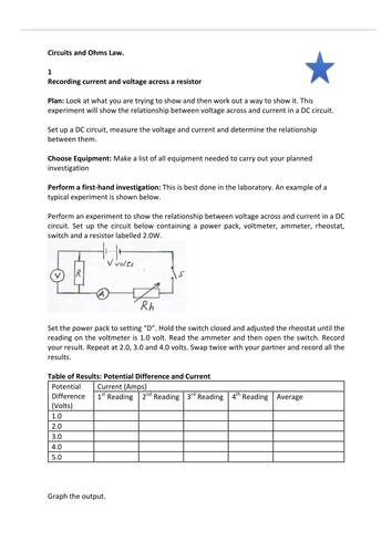 Ohm's Law - activity worksheet