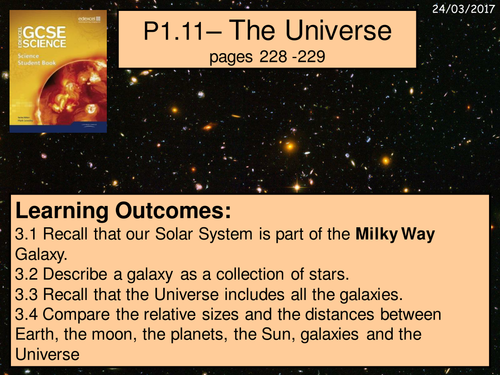 A digital version of the P1.11 The Universe lesson