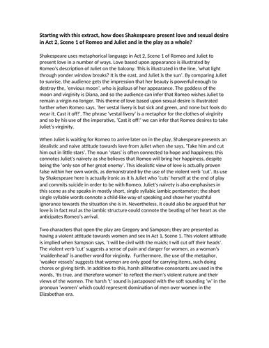 english literature romeo juliet example exam essay response new english literature romeo juliet example exam essay response new 1 9 spec by mgroverresources teaching resources tes