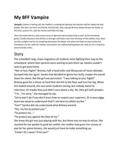 My BFF Vampire (short story that can be adapted into a drama play