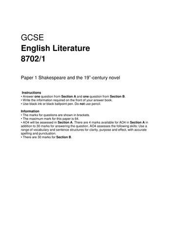 Aqa English Literature  Paper  Mock  Romeo And Juliet  A  Aqa English Literature  Paper  Mock  Romeo And Juliet  A Christmas  Carol By Amnc  Teaching Resources  Tes