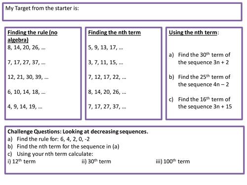 sequences differentiation worksheet by missmather teaching resources tes. Black Bedroom Furniture Sets. Home Design Ideas