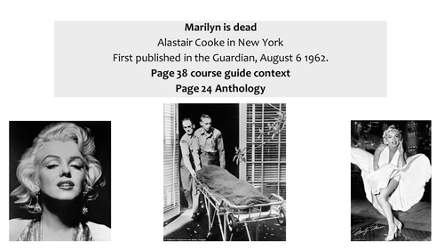 OCR EMC Anthology Alistair Cook- The Death of Marilyn Monroe, 1962