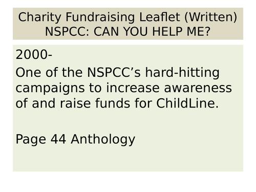 OCR EMC Anthology Charity Fundraising Leaflet NSPCC
