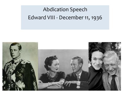OCR EME Anthology Edward VIII Abdication Speech