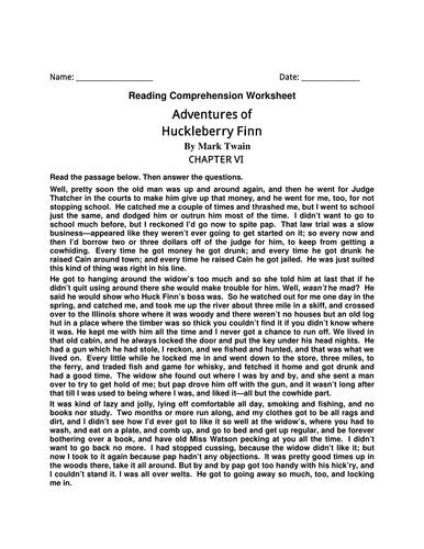 English Comprehension Worksheet- Adventures of Huckleberry Finn By Mark Twain