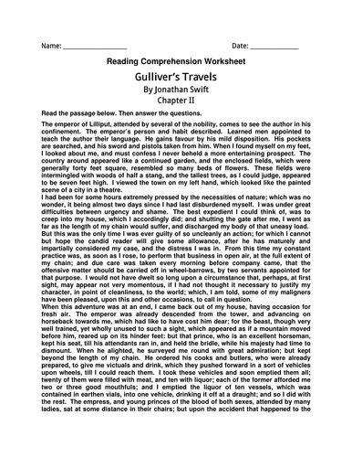 English Comprehension Worksheet- Gulliver's Travels By Jonathan Swift