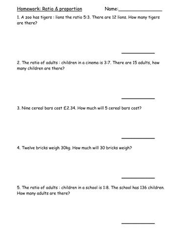 Homework - ratio & proportion problems
