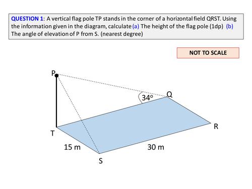 Geometry 3d Trigonometry Questions Trig Worksheet By Ajf43