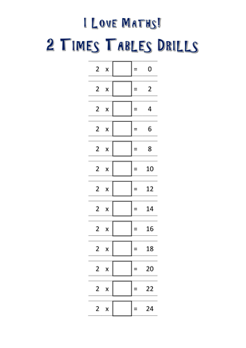 2 Times Tables Drills