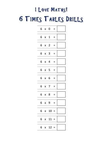 6 Times Tables Drills By Kelcasper Teaching Resources