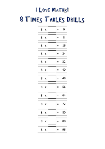 8 Times Tables Drills