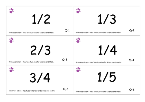 fraction to decimal flashcards