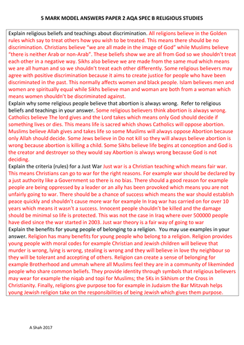 5 MARKER MODEL ANSWERS GCSE RELIGIOUS STUDIES AQA SPEC B PAPER 2
