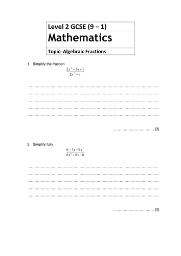 Revision questions for New GCSE Mathematics