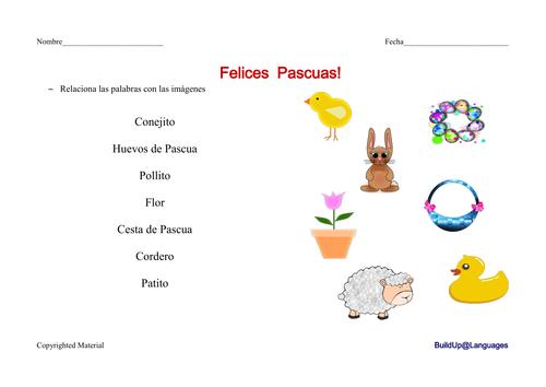 Pascua -relacionar palabras con imágenes
