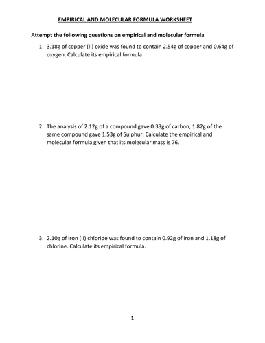 EMPIRICAL AND MOLECULAR FORMULA WORKSHEET WITH ANSWERS by ...