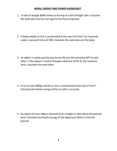 WORK, ENERGY AND POWER WORKSHEET WITH ANSWER