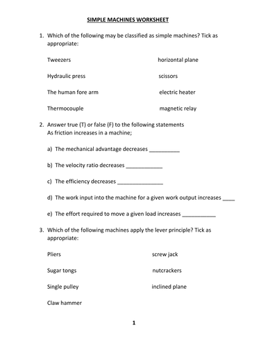 SIMPLE MACHINES WORKSHEET WITH ANSWER by kunletosin246 - Teaching ...
