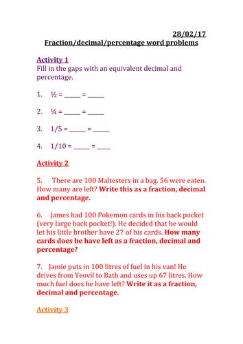 Fraction/decimal/percentage word problems