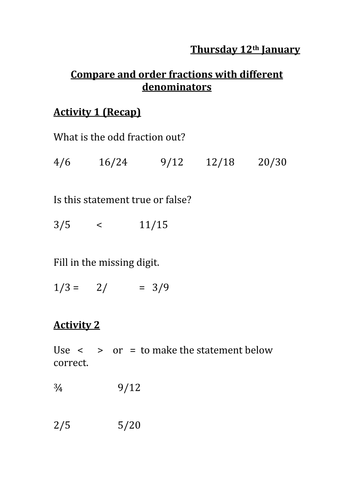 Compare and order fractions with different denominators