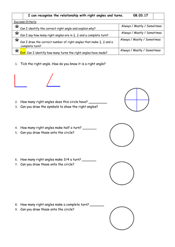 Right angles and turns Year 3
